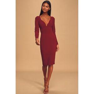 NEW Lulu's Burgundy Long Sleeve Bodycon Midi Dress